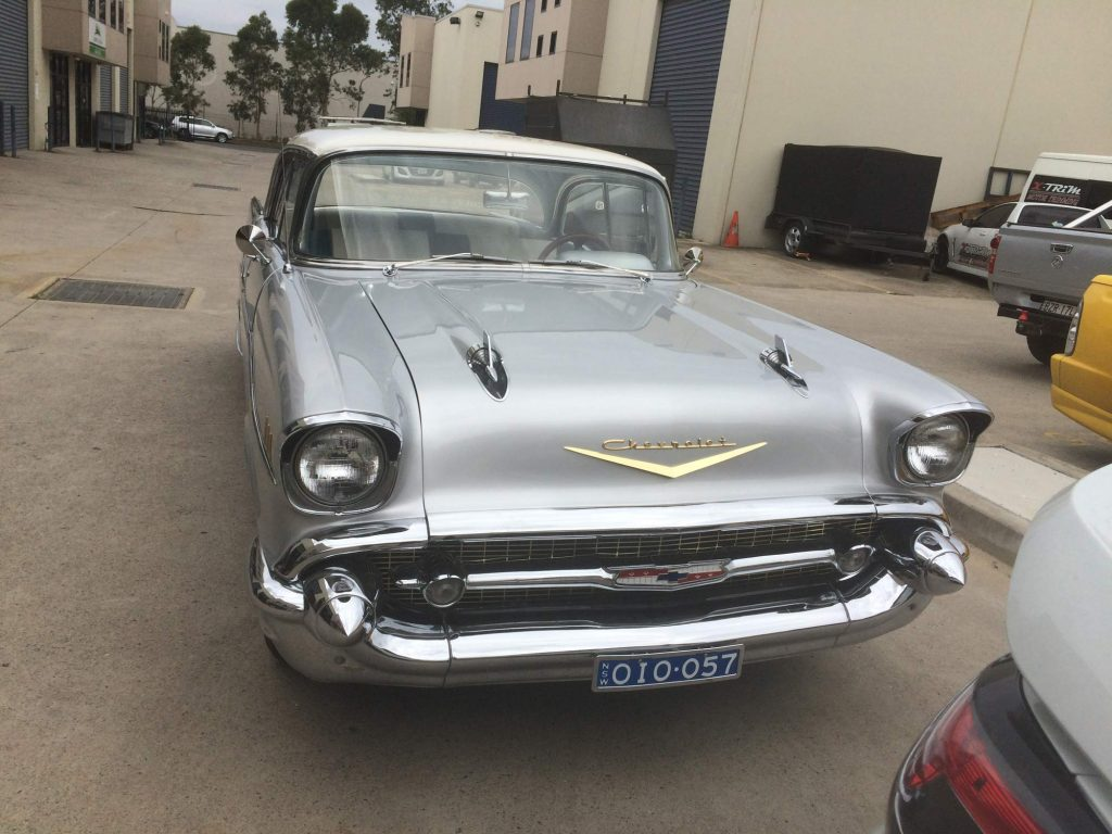 Silver and White '57 Chev